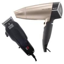 Maquina De Cortar cabelo Gama Pro 9 110V e Secador de cabelo Mallory luxury travel dourado bivolt - Gama/Mallory