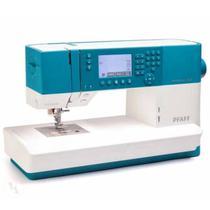 Máquina de costura Ambition 620 eletrônica de uso doméstico 136 pontos PFAFF Bivolt Branca e Azul -