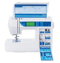Máquina de Costura Doméstica, Agulha Dupla, 200 pontos, Braço, Livre, Lanç. Rotativa, 6600 - Elna