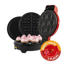 Máquina de Cupcakes, Omeleteira, Waffle, Tapioca e Panquequeira Mickey Mallory 5 Em 1 -