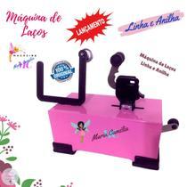 Máquina de Fazer Laços Linha e Anilha com Máquina de Cortar Fita e Fuxico Cor Rosa com Acessórios - Magazine Maria Camélia