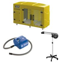 Maquina de Secar Amarela + Secador 5000 Cinza e Soprador Revolution Azul Kyklon -