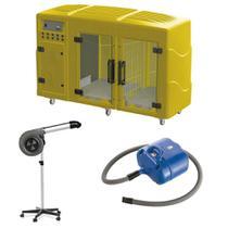 Maquina de Secar Amarela + Secador Maestro Cinza e Soprador Revolution Azul Kyklon -