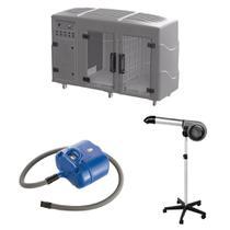 Maquina de Secar + Secador 5000 Cinza e Soprador Revolution Azul Kyklon -