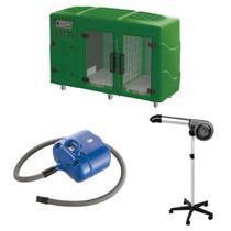 Maquina de Secar Verde + Secador 5000 Cinza e Soprador Revolution Azul Kyklon -
