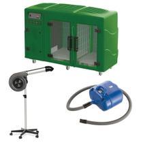 Maquina de Secar Verde + Secador Maestro Cinza e Soprador Revolution Azul Kyklon -