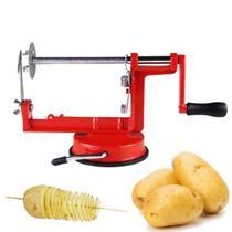 Maquina fatiador espiral batata frita descascador cortador de vegetais legumes frutas maca no palito chips - MAKEDA