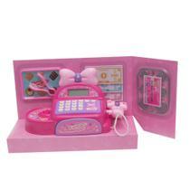 Máquina registradora infantil de brinquedo  para criança com  acessórios e Lacinho BBR - Bbr Toys