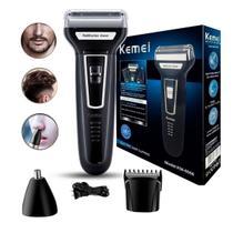 Maquininha de raspar barba, cabelo e pêlos do corpo kemei bivolt 3 em 1 -