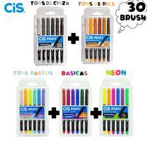 Marcador Artistico Brush Aquarelável - Mega Kit C/30 Cis -