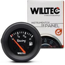 Marcador De Combustível Analógico 52Mm Preto Universal 4 Níveis 12V C7 V70 Willtec -