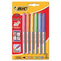 Marcador permanente bic marking color tons pastel com 6 unidades -