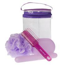 Marco Boni Higiene Pessoal Kit - Nécessaire + Escova de Cabelo + Porta Escova Dental + Saboneteira + Esponja -