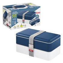 Marmita lunch box fitness euro micro ondas c tampa azul -