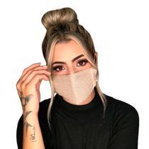 Máscara Alice Ponto Duplo Nude  Tricot Fashion - Tricô