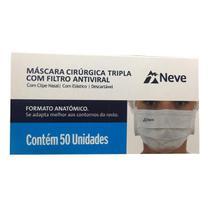 Máscara Cirurgica Descartavel Com Elático Neve/ 50 Unidades -