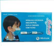 Mascara Cirúrgica Dupla Camada com Filtro - Infantil Azul C/50 - Miralupa