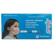 Mascara Cirurgica Dupla Camada com Filtro - Infantil Rosa C/50 - Miralupa
