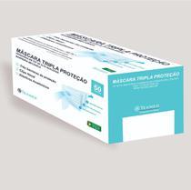 Máscara cirúrgica tripla camada descartável, com filtro de proteção Bacteriana e ajuste de clip nasal (Com ANVISA) - Caixa com 50 unidades - Texmed