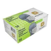 Máscara Cirúrgica Tripla Descarpack Elástico Caixa 50 Unidades Clipe Nasal -