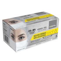 Máscara Cirúrgica Tripla Descartável - Tech3 - Caixa com 50 Unidades - Kestal -