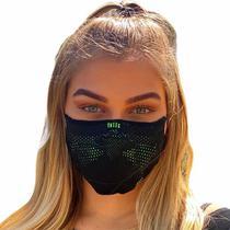 Máscara de proteção esportiva unissex 3D Airknit preta com verde limão - Ebeus