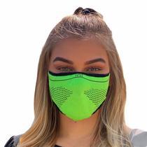 Máscara de proteção esportiva unissex 3D AirKnit verde limão com preto - Airmask