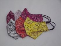 Máscara de proteção estampa bandana kit Rosa/Vermelho tecido tricoline 100% algodão  dupla camada - 2Xlu/Lucia Secio