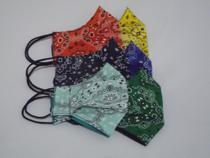 Máscara de proteção estampa bandana kit verde/azul tecido tricoline 100% algodão  dupla camada - 2Xlu/Lucia Secio