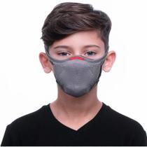 Máscara de Proteção Fiber Reutilizável Infantil Tamanho 1 Cinza -