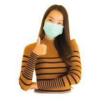 Máscara de Tecido Facial Lavável 100% Algodão Dupla Camada de Proteção - Kit 10 Unidades Verdes - Provest Confeccoes