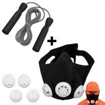 Mascara de Treinamento Respiratorio + Corda de Pular com Rolamento  Liveup -