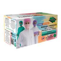 Máscara Descartável Colorida ProtDesc Tripla Camada de Proteção C/ Elástico de Orelha Registro Anvisa 50 Unidades (1 CX) -