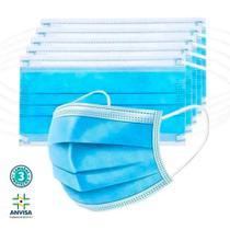 Máscara descartável multilaser azul tripla camada proteção c/ elástico de orelha registro anvisa 150 unidades (3 cx) -