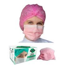 Máscara descartável protdesc rosa tripla camada proteção elástico na orelha registro anvisa 150 unidades (3 cx) -