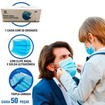 Máscara Descartável TNT Tripla Camada Clipe Nasal 100% Polipropileno Kit 50 Peças MEDICAL SYSTEM - MedicalSystem