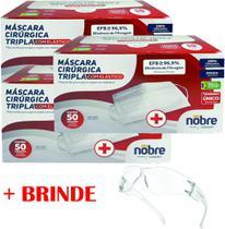 Máscara descartável tripla 150 un. + brinde fabricação nacional com filtro e registro anvisa - Nobre