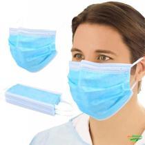 Máscara Descartável Tripla Proteção Facial 50 Unidades Azul - Chn