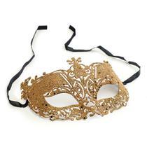 Máscara Elegância Arabesco Acessório Carnaval Dourado - Cromus