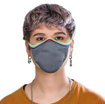 Máscara Fiber Knit reutilizável PRIDE cinza G -