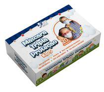 Máscara infantil azul tripla proteção 20 unid com Anvisa 82189940002 - Ft Mask Care+