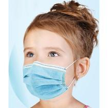 Máscara infantil azul tripla proteção 50 unidades com anvisa - Medi Company