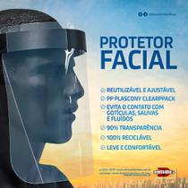 Máscara Protetor Facial com Visor Transparente em Polipropileno Face Shield - Plascony