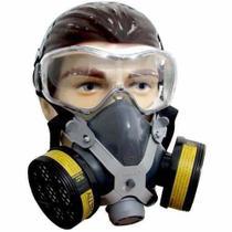 Mascara Respiratória Com 2 Filtros P/ Gases Ácidos + Óculos - Destra