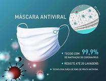 Mascara Tecido Antiviral 99,9% Tripla Lavavel  Branca Laudo - Upvest