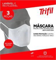 Máscara tecido lavável dupla branca (c/03 unds) trifil / lupo -