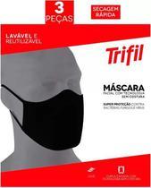 Máscara tecido lavável dupla preta (kit c/06 unds) trifil / lupo -