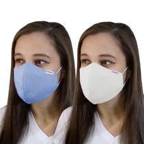 Máscara Tecido Reutilizável Lavável Dupla Camada Branca/Azul - Pro Saúde Care