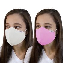 Máscara Tecido Reutilizável Lavável Dupla Camada Rosa/Branco - Pró Saúde Care