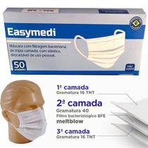 Máscara Tripla Cirúrgica com filtro bacteriológico BFE - Caixa com 50 unidades - Easymedi